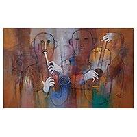 'Creative Melody' (2017) - Original Jazz Musician Oil Painting from Peru