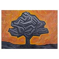 'Warm Sky Above the Tree' - Expressionist Landscape with Tree in Grey and Orange