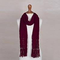 Alpaca blend scarf, 'Attractive Explorer' - Crocheted Alpaca Blend Wrap Scarf in Burgundy from Peru