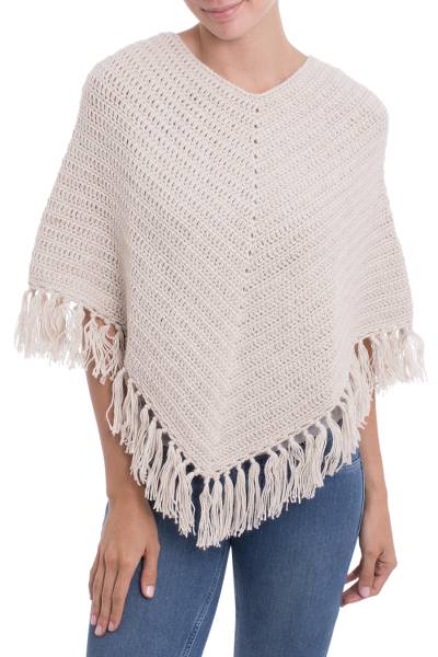 Antique White Peruvian Poncho Crocheted by Hand with V-neck