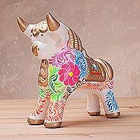Ceramic sculpture, 'Proud Pucara Bull in White' (small) - Hand-Painted White Ceramic Bull Sculpture (Small) from Peru