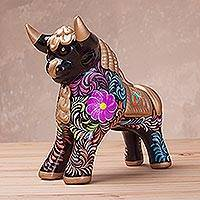 Ceramic sculpture, 'Proud Pucara Bull in Black' (6 inch) - Hand-Painted Black Ceramic Bull Sculpture (6 Inch) from Peru
