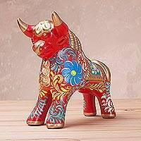 Ceramic sculpture, 'Proud Pucara Bull in Red' (6 inch) - Hand-Painted Red Ceramic Bull Sculpture (6 Inch) from Peru