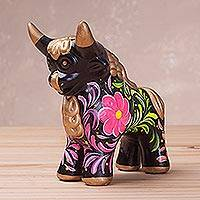 Ceramic sculpture, 'Steadfast Pucara Bull in Black' - Black Ceramic Bull Sculpture with Floral Designs from Peru