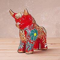 Ceramic sculpture, 'Steadfast Pucara Bull in Red' - Red Ceramic Bull Sculpture with Floral Designs from Peru