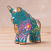Ceramic figurine, 'Floral Pucara Bull' - Ceramic Bull Figurine with Floral Designs from Peru