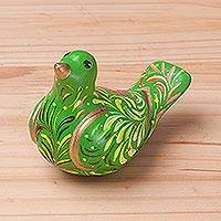 Ceramic sculpture, 'Floral Dove in Green' - Hand-Painted Ceramic Dove Sculpture in Green from Peru