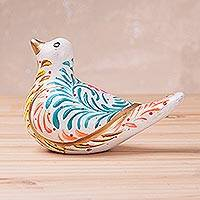 Ceramic sculpture, 'Floral Dove in White' - Hand-Painted Ceramic Dove Sculpture in White from Peru