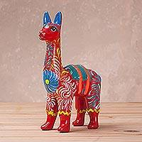 Ceramic sculpture, 'Floral Llama in Red' (large) - Hand-Painted Llama Sculpture in Red (Large) from Peru