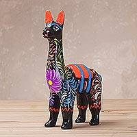 Ceramic sculpture, 'Floral Llama in Black' (5 inch) - Hand-Painted Llama Sculpture in Black (5 Inch) from Peru