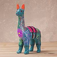Ceramic sculpture, 'Floral Llama in Turquoise' (5 inch) - Hand-Painted Llama Sculpture in Turquoise (5 Inch) from Peru