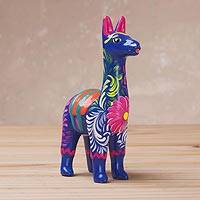Ceramic sculpture, 'Floral Llama in Blue' (3.5 inch) - Hand-Painted Blue Ceramic Llama Sculpture (3.5 Inch)