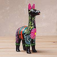 Ceramic sculpture, 'Floral Llama in Black' (3.5 inch) - Hand-Painted Black Ceramic Llama Sculpture (3.5 Inch)