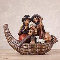 Ceramic nativity sculpture, 'Holy Family in a Canoe' - Ceramic Nativity Sculpture of the Holy Family from Peru