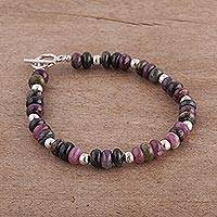 Quartz beaded bracelet, 'Andean Inspiration' - Quartz and Sterling Silver Beaded Bracelet from Peru
