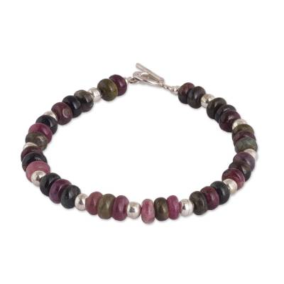 Quartz and Sterling Silver Beaded Bracelet from Peru