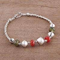 Quartz beaded pendant bracelet,