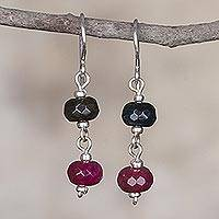 Quartz dangle earrings, 'Shared Passion' - Fair Trade Handcrafted Silver Earrings with Andean Quartz