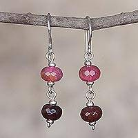 Quartz dangle earrings, 'Rosy Passion' - Handcrafted Silver Earrings with Andean Quartz