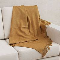 100% baby alpaca throw, 'Blissful Dream in Honey' - 100% Baby Alpaca Throw Blanket in Solid Honey from Peru