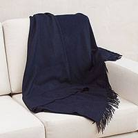 100% baby alpaca throw, 'Blissful Dream in Midnight' - 100% Baby Alpaca Throw Blanket in Solid Midnight from Peru