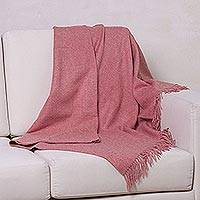 100% baby alpaca throw, 'Blissful Dream in Carnation' - 100% Baby Alpaca Throw Blanket in Solid Carnation from Peru