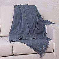 100% baby alpaca throw, 'Blissful Dream in Steel Blue' - 100% Baby Alpaca Throw Blanket in Steel Blue from Peru