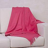 100% baby alpaca throw, 'Blissful Dream in Rose' - 100% Baby Alpaca Throw Blanket in Solid Rose from Peru