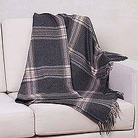 100% baby alpaca throw, 'Lines of Comfort' - 100% Bay Alpaca Throw Blanket with Striped Motifs from Peru