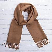 100% baby alpaca scarf, 'Simply Fabulous in Tan' - 100% Baby Alpaca Wrap Scarf in Solid Tan from Peru