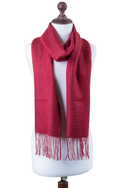 Alpaca blend scarf, 'Intense Love in Crimson' - Handwoven Alpaca Blend Wrap Scarf in Crimson from Peru