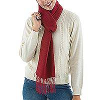 Alpaca blend scarf, 'Intense Love in Ruby' - Handwoven Alpaca Blend Wrap Scarf in Ruby from Peru