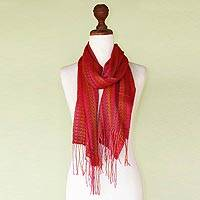 Alpaca blend scarf, 'Arrow Stripes' - Handwoven Striped Alpaca Blend Wrap Scarf from Peru