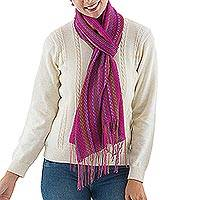 Alpaca blend scarf, 'Attractive Woman' - Handwoven Alpaca Blend Wrap Scarf in Magenta from Peru
