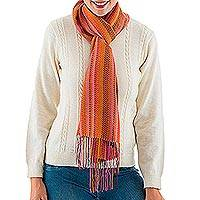 Alpaca blend scarf, 'Alluring Woman' - Alpaca Blend Wrap Scarf with Orange-Tone Stripes from Peru