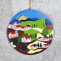 Ceramic wall art, 'Andean Hillside' - Hand-Painted Ceramic Landscape Wall Art from Peru