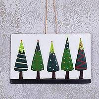 Ceramic wall art, 'Charmed by Christmas' - Hand-Painted Ceramic Christmas Tree Wall Art from Peru