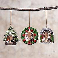 Ceramic ornaments, 'Christmas Nativity' (set of 3) - Three Christmas-Themed Ceramic Ornaments from Peru