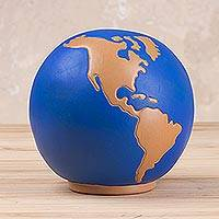 Ceramic bank, 'Map of the World' - Hand-Painted Ceramic Bank of the World from Peru
