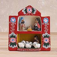 Ceramic sculpture, 'Andean Retablo' - Retablo-Style Ceramic Nativity Sculpture from Peru