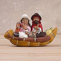 Ceramic sculpture, 'Happiness in a Canoe' - Hand-Painted Cultural Ceramic Sculpture from Peru