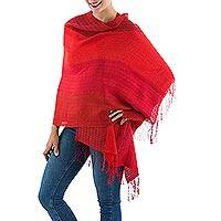 Alpaca blend shawl, 'Passionate Woman in Red' - Handwoven Alpaca Blend Shawl with Red Stripes from Peru