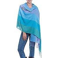 Alpaca blend shawl, 'Ocean Woman' - Handwoven Alpaca Blend Shawl with Oceanic Stripes from Peru