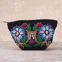 Alpaca blend coin purse, 'Peruvian Shopper' - Floral Embroidered Alpaca Blend Coin Purse from Peru