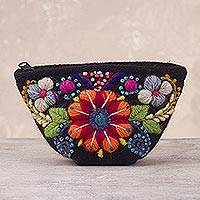 Alpaca blend coin purse, 'Andean Shopper' - Black Floral Embroidered Alpaca Blend Coin Purse from Peru