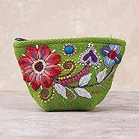 Alpaca blend coin purse, 'Spring Green Shopper' - Green Floral Embroidered Alpaca Blend Coin Purse from Peru