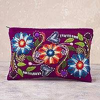 Alpaca blend clutch, 'Magenta Bouquet' - Floral Embroidered Alpaca Blend Clutch in Magenta from Peru