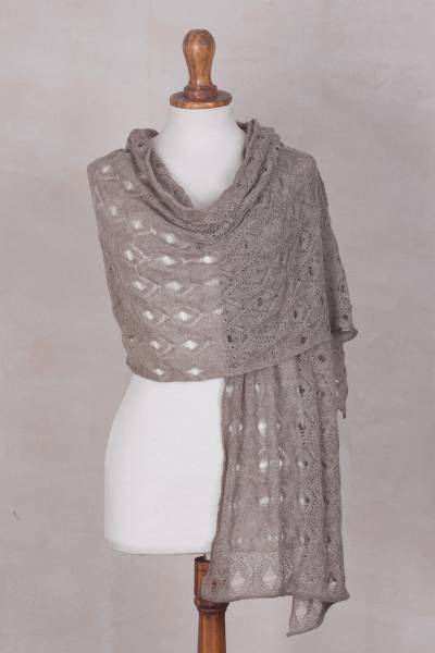 Baby alpaca shawl, 'Andean Reverie' - Artisan Made Taupe 100% Baby Alpaca Shawl from Peru