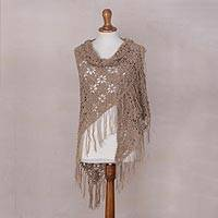 100% baby alpaca shawl, 'Mountain Flowers' - Peruvian Handmade 100% Baby Alpaca Shawl with Flower Motif