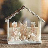 Huamanga stone nativity scene sculpture, 'Humble Abode' - Artisan Sculpted Huamanga Stone Nativity Scene from Peru